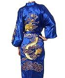 XueXian(TM) Homme Chinois Dragon Bordé Pyjama Robe Kimonos Cardigan Avec Ceinture Polyester Taille Unique
