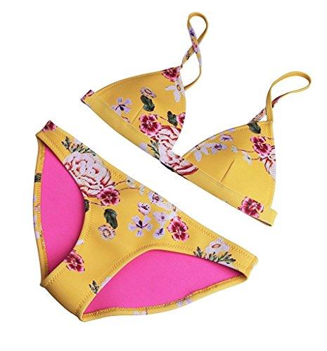Dou.Queen Damen Triangel Sommer Neopren Blumen Bikini Beachwear Bademode Geld Medium