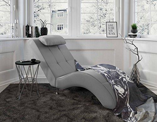 myHomery Relaxliege Tanja - Liege zum Entspannen - Relaxsessel fürs Wohnzimmer - Moderne Recamiere mit Stoff - Chaiselongue - Grau