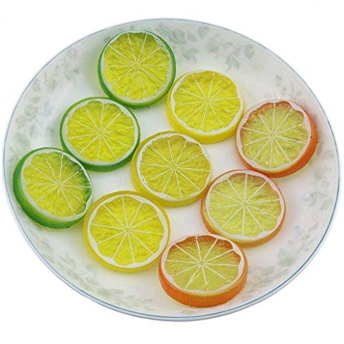 Gresorth 9 Stück Künstlich Zitrone Scheibe Sammlung Fälschung Früchte Dekoration Fotografie Requisiten - Scheiben Zitrone Künstliche