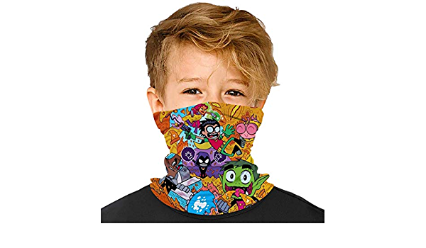 Shiney Day Te-en Tit-Ans Go Kids Bandanas Face Cover Mouth Cloth Cover Balaclavs Tube Headband for Dust Sun Protection For 6-15 Years Old