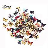 Cisixin Hair 100 pezzi Bottoni in Legno, colorati assortiti floreali Farfalla, con 2 Fori per Scrapbooking Cucito