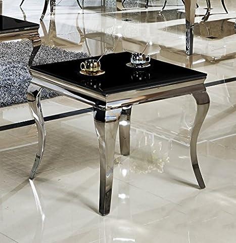 Table d'appoint 60 x 60 x 50 ina noir table de chevet design en verre et acier inoxydable style baroque de