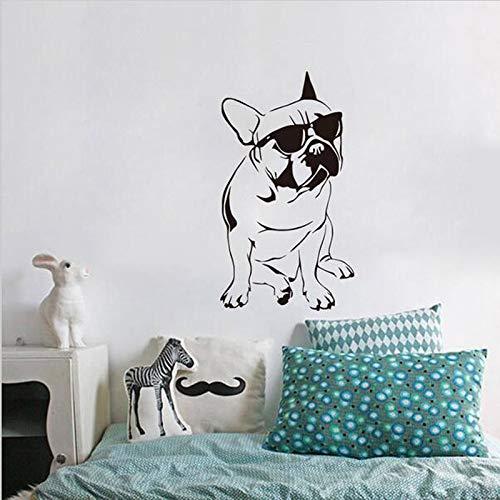 yiyiyaya FARLEOPARD Lustige Französisch Buldog Aufkleber Kinderzimmer Vinyl Wandaufkleber Hund Mit Sonnenbrille Nette Schlafzimmer Tapeten Wohnkultur 33 * 59 cm