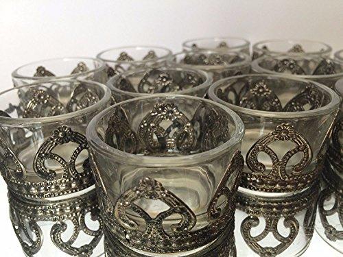 Conjunto de los titulares Claro elegante té de vidrio claras antiguas decoración de la Navidad del metal