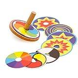 Delmkin 2pcs Holz-Kreisel Kreative Bildungs-Spielzeug Traditionelle Holzspielzeug - für Kinder