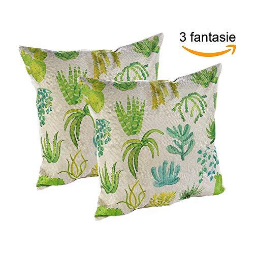 2 fodere cuscini 40x40 | copricuscini quadrati arredo divano camera da letto, sala, sofa, cucina | tessuto resistente effetto juta cerniera zip | colorati verde fantasia bosco