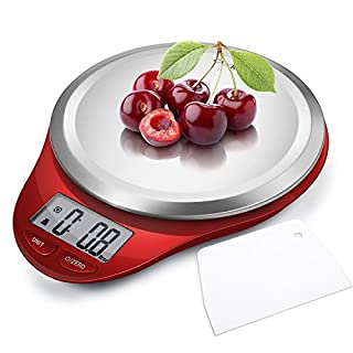Camry Digital Kitchen Scales with Dough Scraper,High Accuracy Multifunction Cooking Scale with Fingerprint Resistant Coating,Tare & Auto Off Function-Red