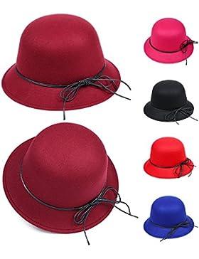 New Vintage Ladies Women Wide Brim disquete sombrero bombin sombrero de fieltro de lana