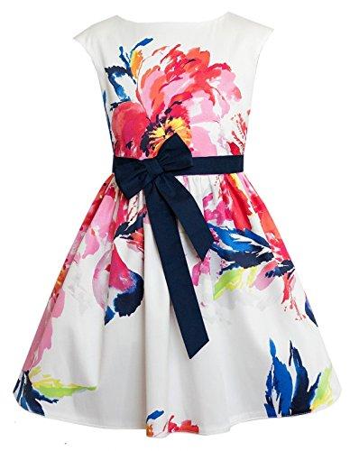 Sly Mädchen Kleid Festlich Hochzeit Kommunion Einschulung Jugendweihe Party Weiß Bunte Blumen Größe 146 (Kommunion Kleid Shop)