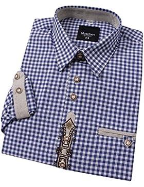 Top-Quality Trachtenhemd Herren - Blau-Karo/kariert - Langarm/Kurzarm - Komfort Reine Baumwolle -mit Edelweiß