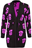 Ladies Womens Girls Skull Printed Halloween PLUS SIZE Long Sleeve Knitted Cardigans Loose open front Tops FUCHSIA UK SIZE M/L(12-14)