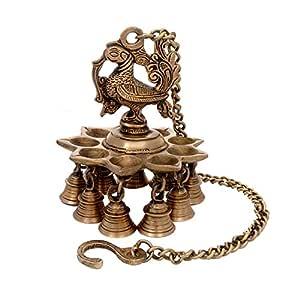 Aone India Brass Hanging Peacock Diya with Bells