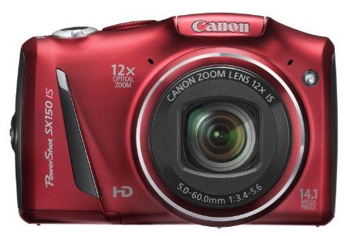 Canon PowerShot SX 150 IS Digitalkamera (14 MP, 12-fach opt. Zoom, 7,6cm (3 Zoll) Display, bildstabilisiert) rot