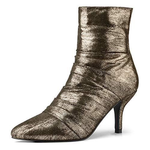 (Allegra K Damen Christmas Reißverschluss Spitze Stiletto Metallisch Boots Stiefel Gold 41 EU)
