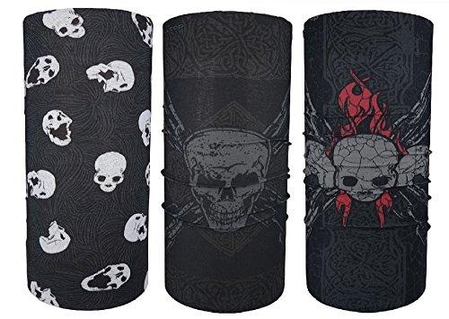 Hilltop 3 x scaldacollo da moto multifunzione/sciarpa da moto/sciarpa/set da 3 pezzi, disegni di cranio