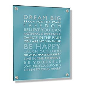 Feel Good Art Contemporary Wall Mounted Acrylic Frame with Stand-Off Bolts &ltYou can be Anyone You Want to be-Nursery Dècor&gt, Cream (X-Large-91 x 60 x 0.6cm), Teal, 91 x 60 cm