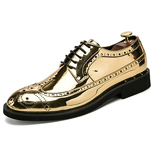 Herren Lackleder Vintage Brogue Schuhe Herren Schnürschuhe Derby Hochzeit Arbeit Business Formale Schuhe Größe 38-46,Gold-46