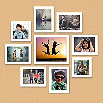 AJANTA ROYAL Individual Synthetic Polymer Wood Photo Frames(White,A-90C) - Set of 9
