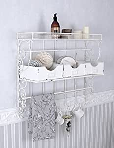 wandboard weiss wandregal shabby chic handtuchhalter wandschrank eisen palazzo exclusiv amazon. Black Bedroom Furniture Sets. Home Design Ideas