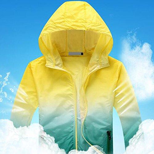 Eastlion Farbverlauf Farbe Sonnenschutzkleidung Kleider Anti-UV Mit Kapuze Draussen Sport Windbreaker Farbe 1