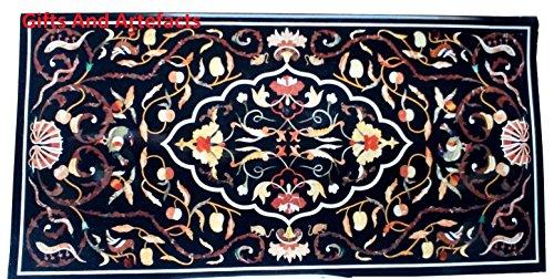Gifts And Artefacts auf Einem-Tisch, 60cm x 30cm, rechteckig, Schwarz, Marmor Pietra Dura Art
