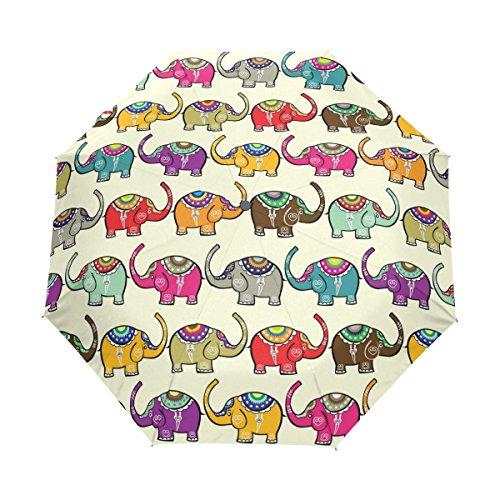 COOSUN Los Elefantes Patrón sin Fisuras automático 3 Plegable del Paraguas del...