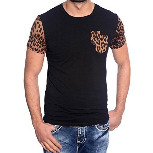 Baxboy Herren Kurzarm Luxus Leopard Muster Japan Style T-Shirts JP-1021 Neu Hemd Schwarz