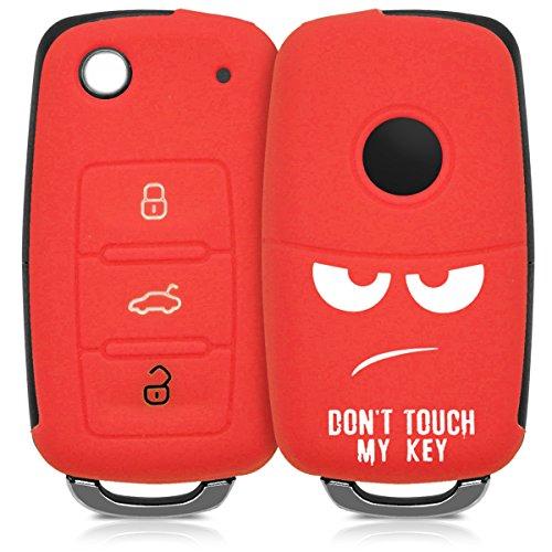 kwmobile Autoschlüssel Hülle für VW Skoda Seat - Silikon Schutzhülle Schlüsselhülle Cover für VW Skoda Seat 3-Tasten Autoschlüssel Weiß Rot (Auto Cover Seat)