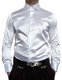 88e1ef9f05bb Pierre Martin Designer Herren Glanz Hemd Slim Fit tailliert bügelleicht  langarm Glanzhemd eng geschnitten bunt