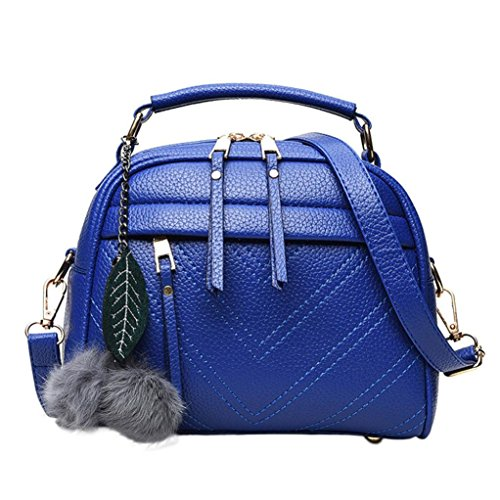 Damen Fashion Handtasche PU-Leder Quaste Kunstfell Ball Anhänger Schultertasche Tote Handtasche blau 22cm(L)*18(H)*11cm(W) (Reißverschluss Top Double Umhängetasche)