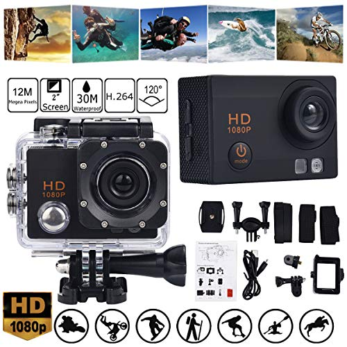 Sport Camera TAOtTAO Wasserdichte Kamera HD 1080P Sport Action Kamera DVR Cam DV Video Camcorder (Schwarz)