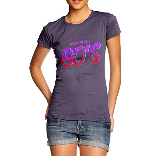 TWISTED ENVY Damen T-Shirt Born In The 80s Print Pflaume