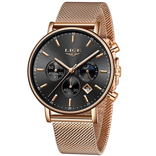 competitive price 63c00 438bc Watch for Men,LIGE Stainless Steel Waterproof Analog Quartz Watch  Chronograph Moon Phase Date Milanese