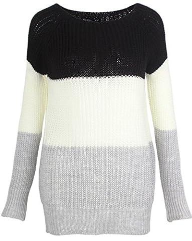 Emma & Giovanni - Pull en Maille (Taille S à XL) - Femme (S/M, Noir-Blanc-Gris)