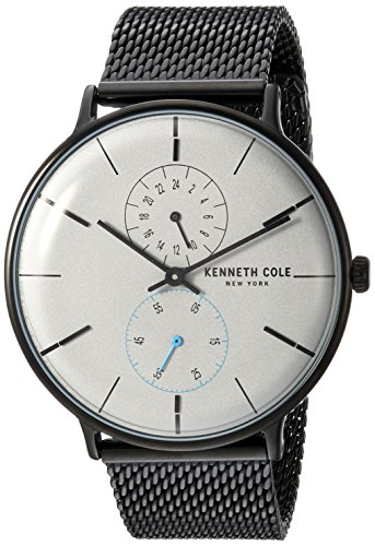 Kenneth Cole New York Herren-Armbanduhr Analog Quarz Edelstahl KC15188001 (Schwarz Cole Uhr Kenneth)