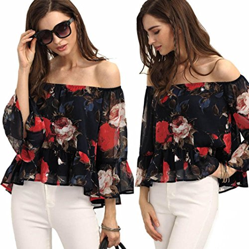 QUINTRA Sexy Frauen aus Schulter Floral Chiffon Bluse Shirt Tops Sommer T-Shirt (M) (Bauer Bluse Schulter)