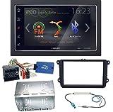 ZENEC Z-N326 Bluetooth USB MP3 Autoradio 2-DIN Moniceiver Touchscreen Freisprecheinrichtung Einbauset für Golf 5 6 Passat 3C CC B7 Touran