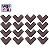 Store2508 Corner Guards for Child Infant Safety with Strong Double Sided Tape & Instructions (16 Pcs) (Brown)