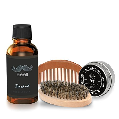 Kit Cuidado de Barba 4 pcs,Breett Cepillo Para...