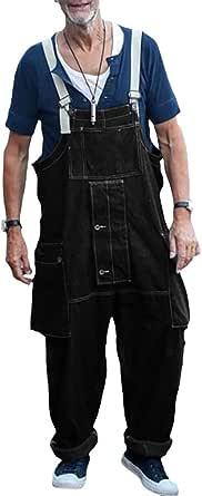 Hongxin Men Denim Overalls Trousers, Onesies Dungarees Vintage Work Bib Jeans Jumpsuits with Knee Pads Pockets Coveralls Pants Big Waist Plus Size S-5XL