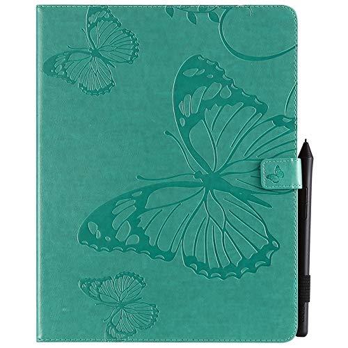 ANNFENG Mode Retro Schmetterlings-Blumenmuster PU-Leder-Mappe Anti-Kratzschutz-Schutzfall für neues iPad Pro 2018 (3. Gen), mit Halter-Kartensteckplatz-Mappe Abdeckung (Farbe : Grün) (Telefon-abdeckungen Gummi-anmerkung 3)