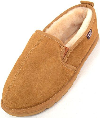 Snugrugs-Pantofole da donna in vera pelle di montone con suola rigida leggera, colore: castagna, Marrone (Castagno), 43