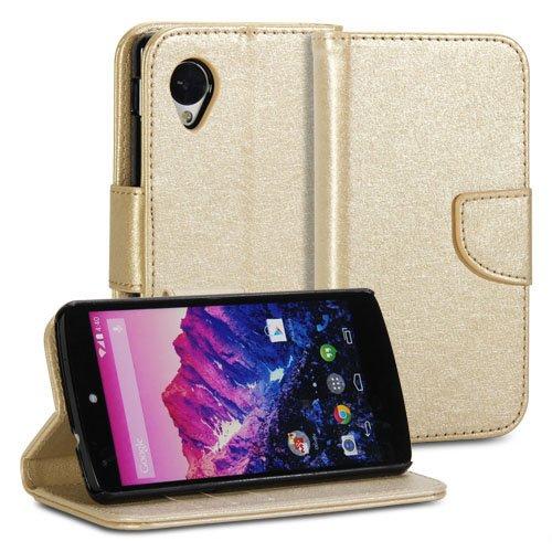 Nexus 5 Hülle, GMYLE Wallet Geldbörse Tasche für Google LG Nexus 5 D820 D821 - Champagne Gold natürliche Seide Muster PU Leder Flip Folio Slim Fit Wallet Geldbörse stehen Case/Cover (Nexus 5 Champagner-fall)