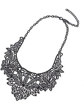 Ketten kurze Statement Halskette Edelstahl schwarz breite Spitze 54,5 cm