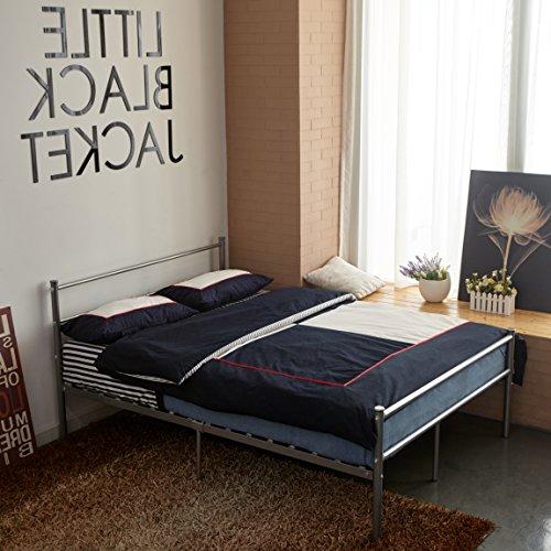 H.J WeDoo 4FT 6 Metal Bed Frame Double Bed Designer Kids Teens Adults' Bedroom(bed frame only) - Silver