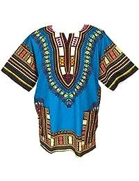 MARUK Blusas Dashiki africanas Unisex, Manga Corta, con impresión Tradicional Africana, para Verano