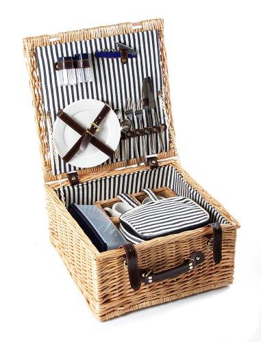 Greenfield Collection (HP002) Deluxe Sylt Picknickkorb für 2 Personen, Weide, gestreiftes Futter: Mitternachtsblau - Weiß gestreift
