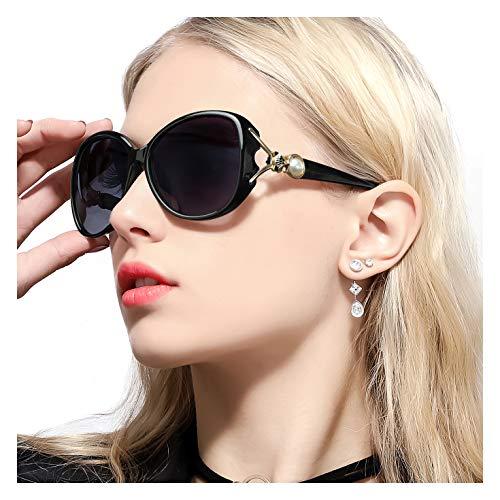 FIMILU Damen Klassiker Polarisierenden Sonnenbrillen 100% UV Schutz Retro Brillen zum Einkaufen Fahren Reisen (Schwarz Rahmen/Grau Linse)