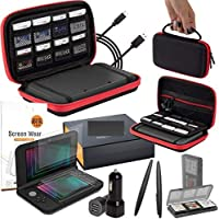 Orzly 3DSXL Accessories, Ultimate Starter Pack for 3DS XL or New Nintendo 3DS XL (Bundle includes: Car Charger/USB Charging Cable/RedBlack Console Case & more. (See full description for details)
